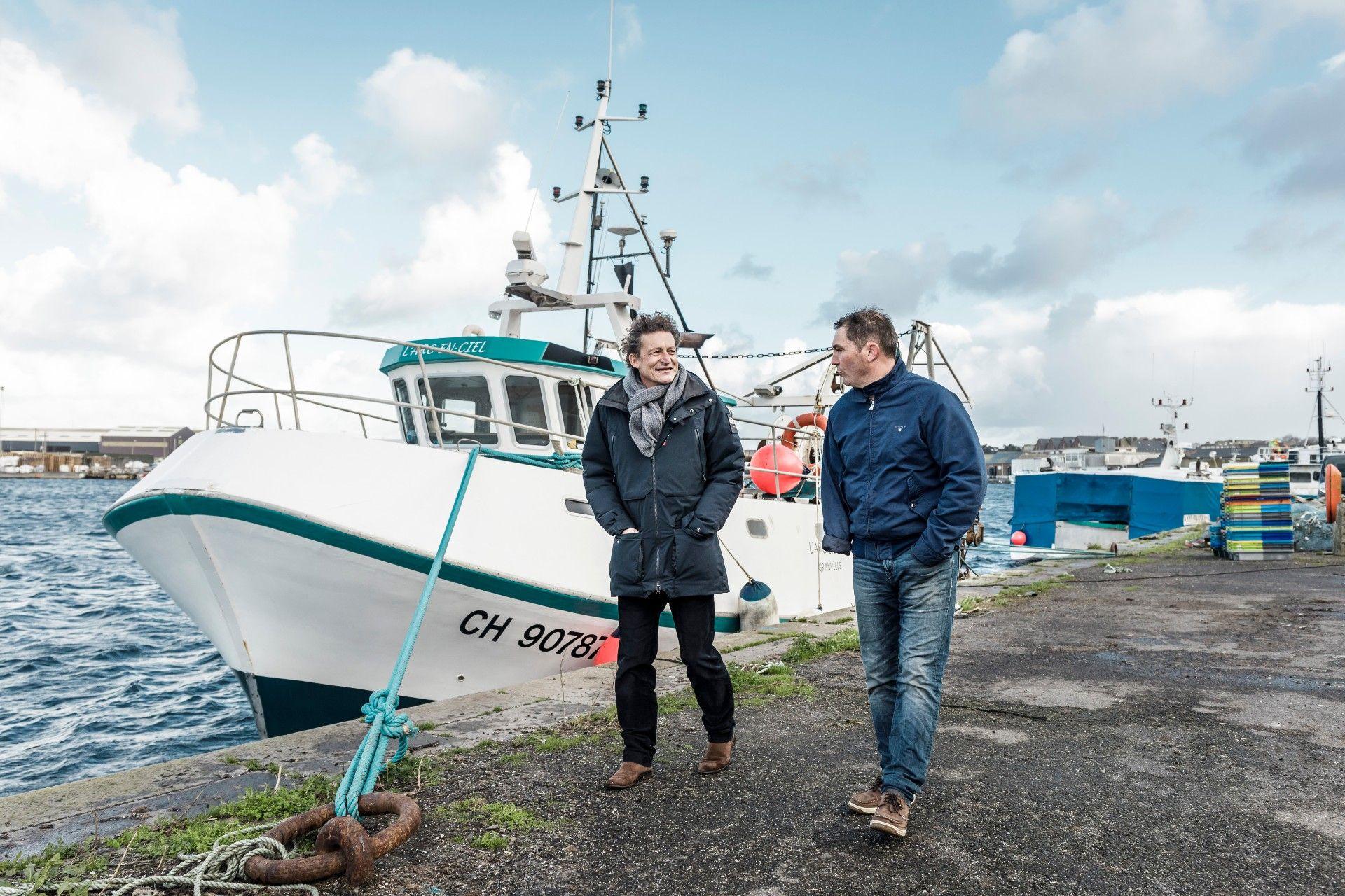 Richard Pellerin (Pêcheur à Cancale et armateur de l'Arc-en-Ciel et de l'Itasca) & Philippe Renan (directeur de la filière maritime du Crédit Maritime Bretagne-Normandie, à Saint-Malo et à Saint-Brieuc)